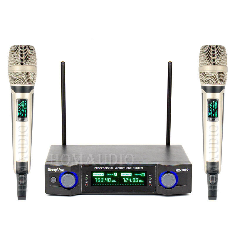 2 x Handheld Cordless Mic VHF Wireless Microphone System Karaoke Stage KTV Music