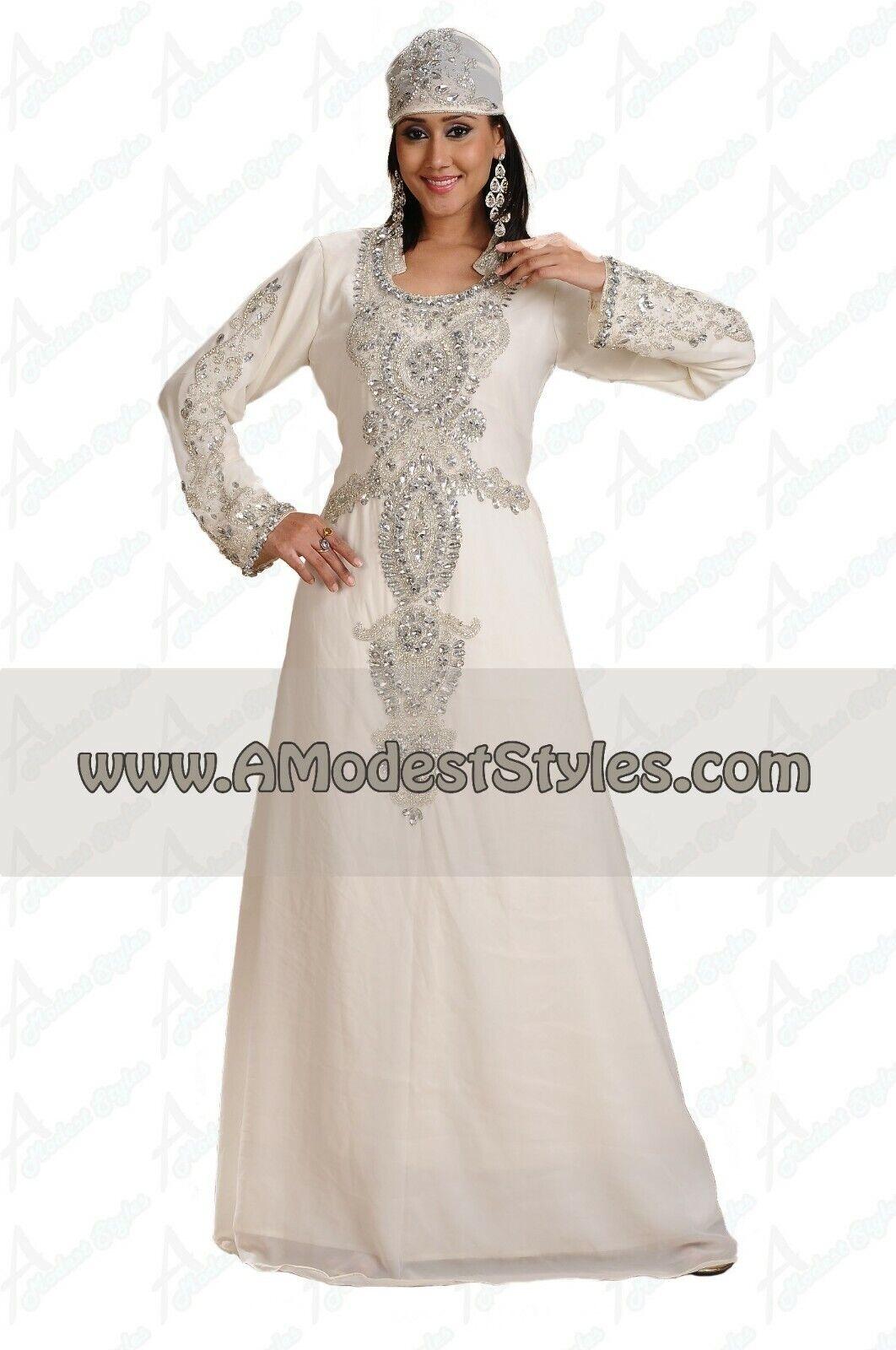 White DUBAI ABAYA KAFTAN Hijab Muslim Islam Wedding Dress USA SELLER MD0549