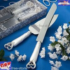 Elegant Wedding Party Cake Stainless Knife and Server Set Interlocking Hearts