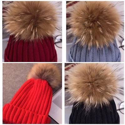 2018hot Le Donne Inverno Racoon Pelliccia Pom Pom 18cm A Sfera Knit Beanie Sci Cap Bobble Cappello-mostra Il Titolo Originale