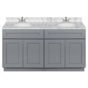 60-034-Vanity-Cabinet-Colonial-Gray-with-Granite-Top-Cara-White-and-Faucet-LB5B