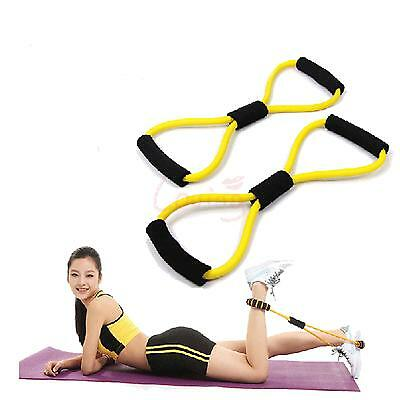 Orange Yoga 8 Shape Pull Rope Latex Weight  Exercise Fitness Resistance Ban