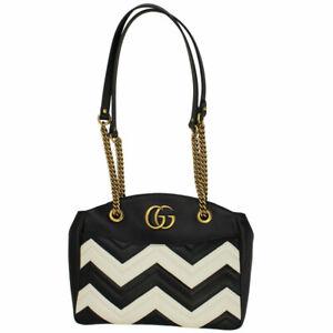 5f91264777e8 BRAND NEW GUCCI GG MARMONT BLACK & WHITE LEATHER CHAIN SHOULDER BAG ...