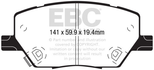EBC Ultimax Front Brake Pads for Jeep Renegade 2.0 TD 4WD 120 BHP 2015 on