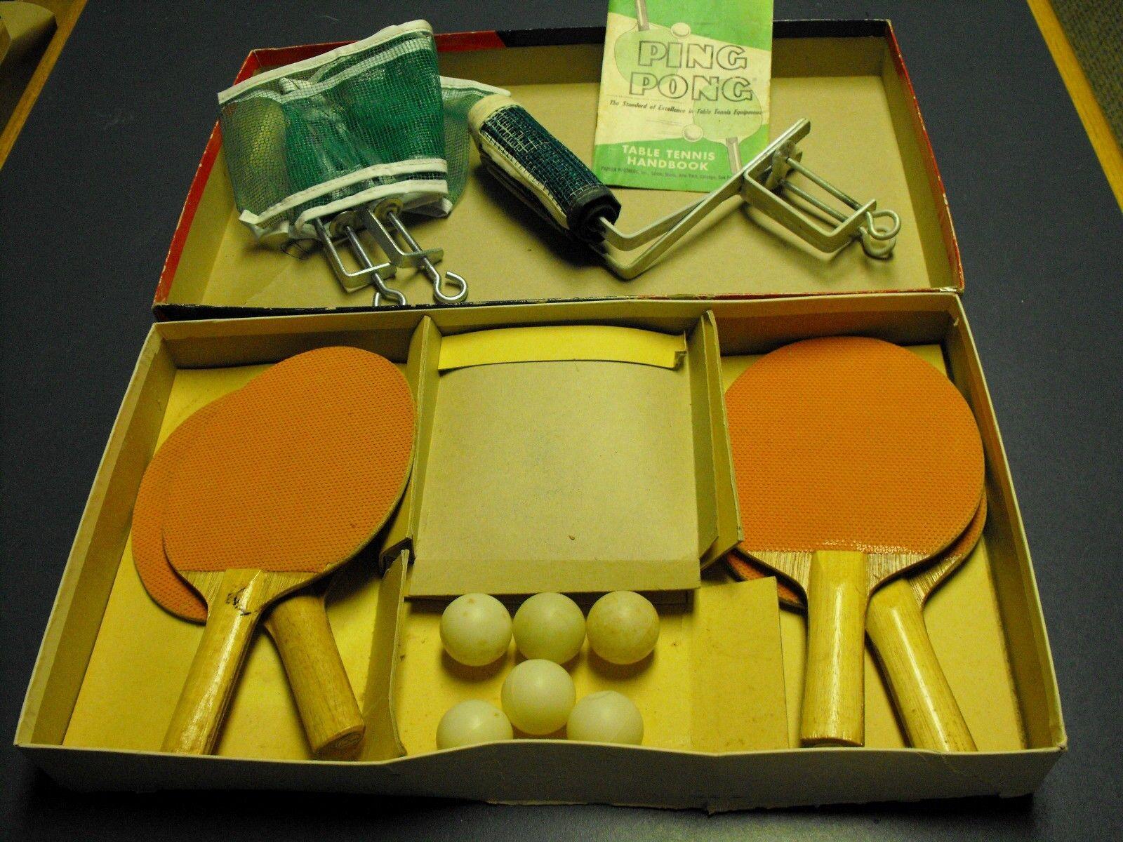 Vintage 1959 PARKER BredHERS PING PONG TABLE TENNIS SET COMPLETE W  INSTRUCTION
