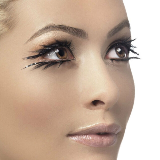 Black False Eyelashes Sparkle Detail Including Glue Fake Lashes Smiffys 34532