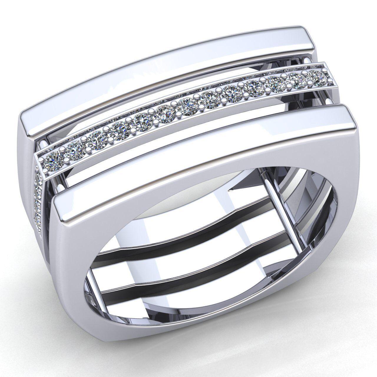 Natural 1.5ct Round Cut Diamond Mens Modern Anniversary Engagement Ring 18K gold