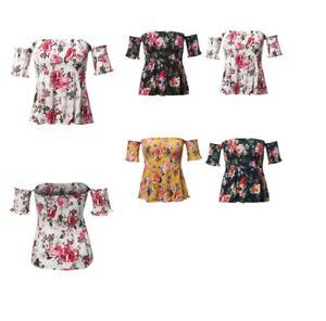 FashionOutfit-Women-039-s-Floral-Print-Off-The-Shoulder-Flounce-Top