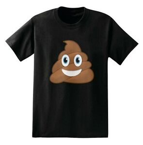 Poop-Emoji-Funny-Black-Men-039-s-T-Shirt-New
