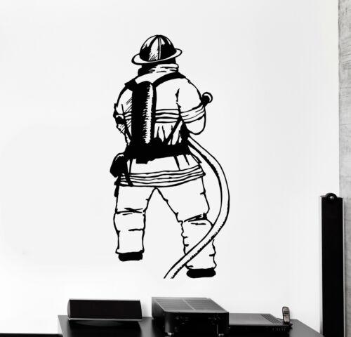 ig4692 Vinyl Wall Decal Firefighter Fireman Fire Department Stickers Murals