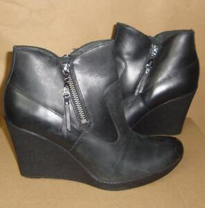 Image is loading UGG-Australia-Meredith-Black-Wedge-Leather-Ankle-Boots-