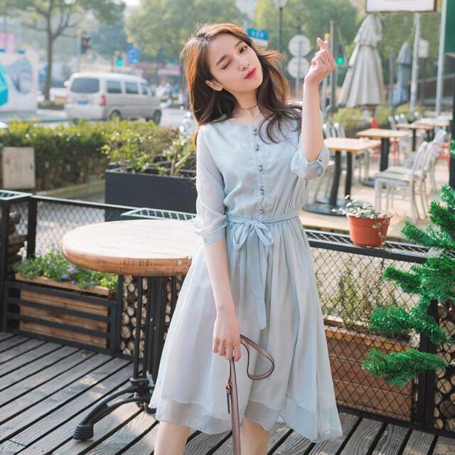 79c6925f215e Women's Chiffon Summer Korean Club Elegant Skirt Sweet Stylish Fashion  Dress V6