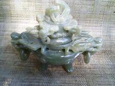 "Chinese Natural Green Jade Dragon Beast Statue incense Burner 6"" Tall 7""  Wide"