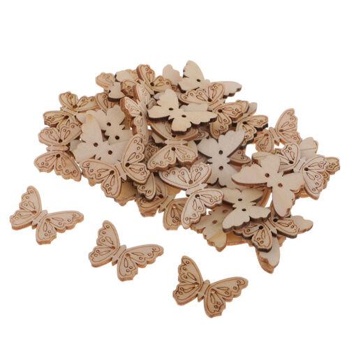 50pcs bois papillon à la main 2 trous en bois boutons à coudre bricolage