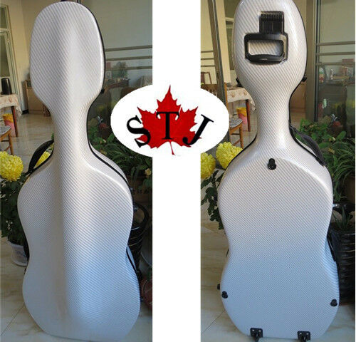 Free Shipping Full size 4 4 composite Carbon fiber Cello Case in white color