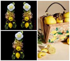 Lemon Dolce Earrings, Lemon Gold Dangle Earrings, Fruit Yellow Earrings, Gold