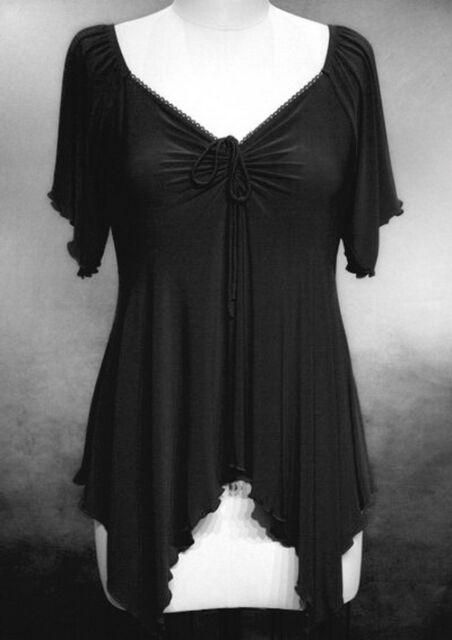 Witchy Gothic Handkerchief Hem Blouse ~Black ~4X ~26/28~Plus Size Shirt / Top