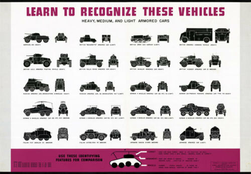 2W33 Vintage WWII Recognise Light-Heavy Armoured Cars War Poster WW2 A2 A3