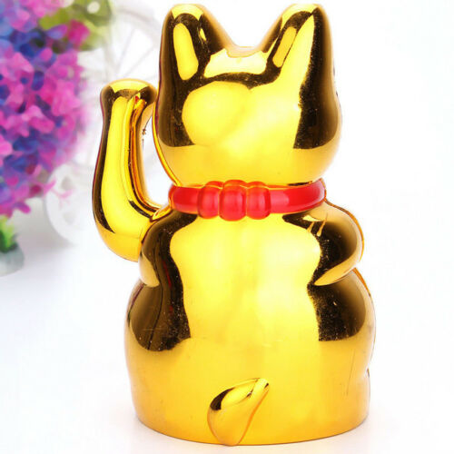 """5/"""" Feng Shui Fortune Gold Ingot Chinese Lucky Wealth Waving Cat by AA Battery"""