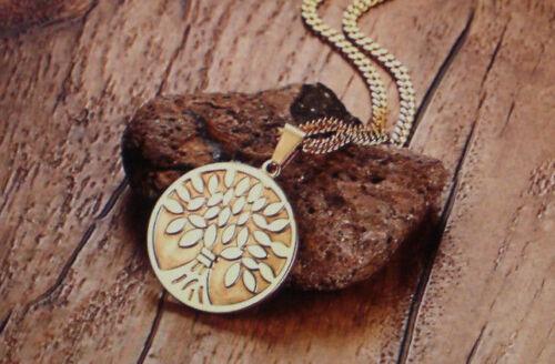 Edelstahl Halskette Gliederkette mit Anhänger Lebensbaum Fb Gold 1634