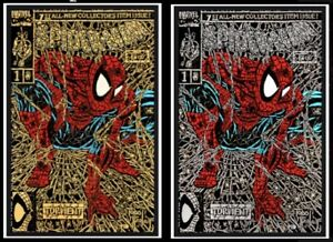 Spider-Man-1-Shattered-Variant-SET-Presale-Gold-Silver-2-books-Facsimile