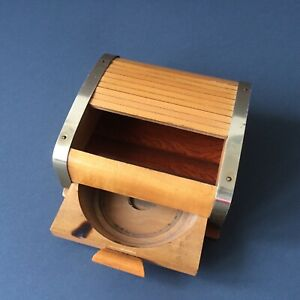 Vintage-50-039-s-Wooden-Roll-Top-Lid-Cigarette-Box-Holder-With-Drawer