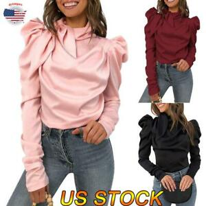 Women-Fashion-Bow-tie-Long-Sleeve-High-Collar-Shirt-Tops-Office-Ladies-Blouse-US