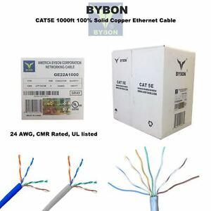 BYBON CAT5E 1000ft Solid Copper Ethernet Cable UTP Riser rated(CMR ...