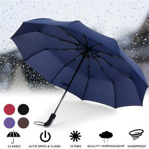 Regenschirm-Auf-Zu-Automatik-stabil-gross-sturmsicher-Taschenschirm-mit-Etui