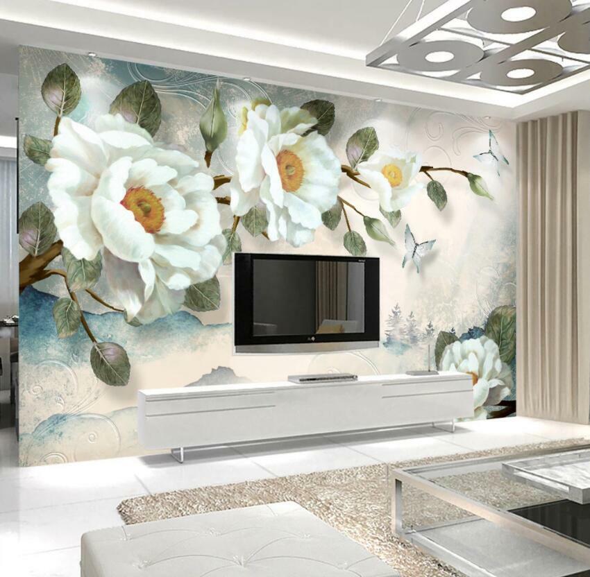 3D Schöne Blaumen H1202 Tapete Wandbild Selbstklebend Abnehmbare Aufkleber Wend