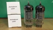 Pair of Westinghouse 12AX7 ECC83 Long Gray Plate Square Getter Vacuum Tubes