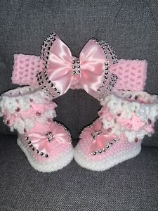 Hand knitted Romany Bling baby girls  Shoes//booties+Crochet headband 0-3months