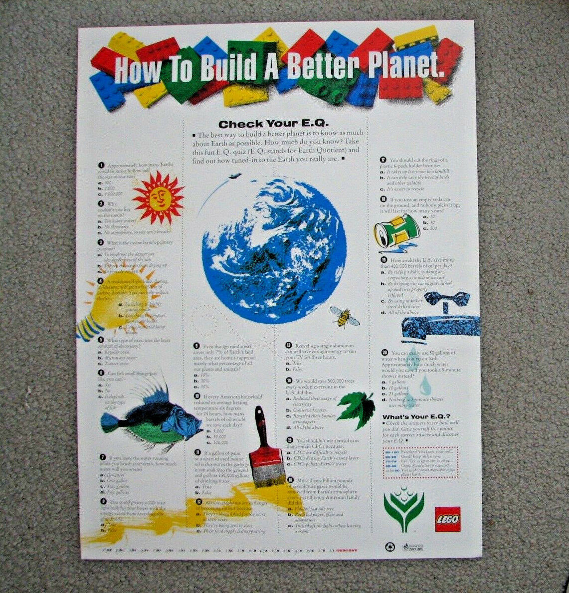 LEGO vintage poster 1991 | Environmental | Limited Out of Print | RARE 18 x 24