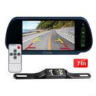"7"" Car Rear View Mirror Monitor Remote 9 LED Backup Camera License Plate Night"