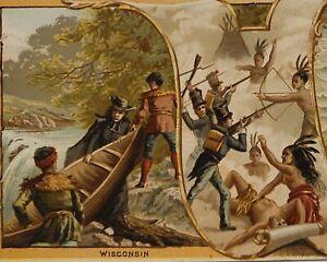 1892 Arbuckle Coffee Victorian Trade Card Wisconsin. Marquette Blackhawks defeat