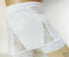 Silky White High Waist Full Brief Pinup Style Light Control Panties UK S