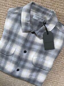 Tutti-i-Santi-GRIGIO-CHIARO-034-Halleck-034-Check-Camicia-a-Maniche-Lunghe-Top-XS-NEW-amp-Etichette