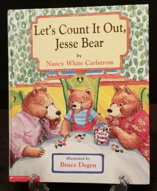 LET'S COUNT IT OUT, JESSE BEAR by NANCY WHITE CARLSTROM -2001 HARDCOVER LIKE NEW