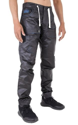 Homme Noir Pantalon De Survêtement Wet Look Coated Revers Jeans Big King taille 28-40 42 44 46 48
