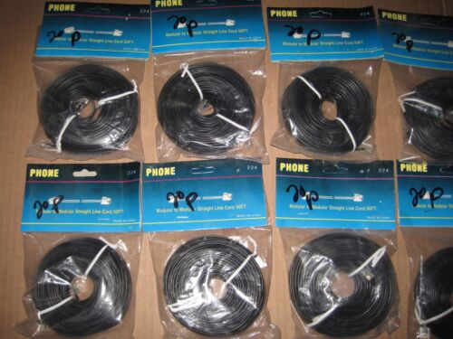Black Lot of 10 50ft Modular to Modular Straight Phone Line Cord