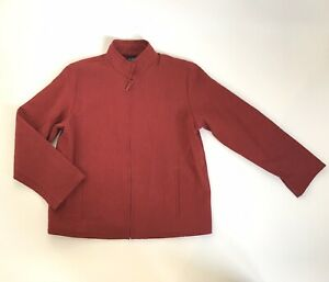 Eileen-Fisher-Red-Cotton-Crinkle-Zip-Up-Light-Boxy-Jacket-Size-S-Made-In-USA
