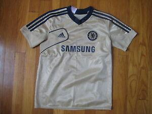Chelsea-Football-Club-ADIDAS-JERSEY-vtg-t-shirt-Samsung-gold-soccer-kid-S-8-9-10
