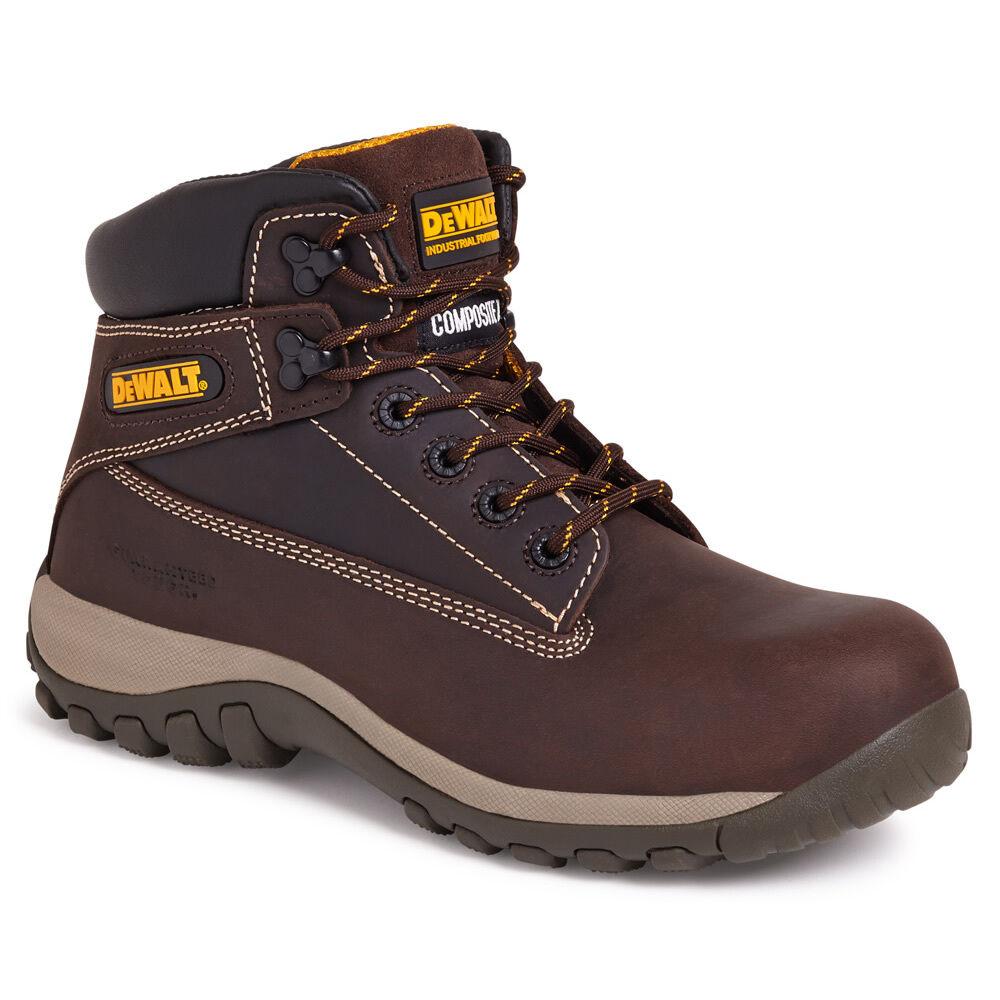 DeWalt Hammer Safety Boots Brown Composite Toe Cap Mens