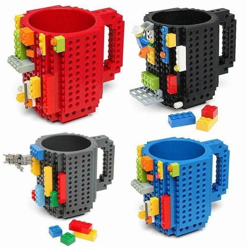 DIY Creative Lego Puzzle Brick Mug Build On Block Coffee Tea Drink Cup Gift Blue