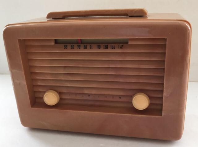 VTG Plaskon Catalin Teletone Table Radio Tube Model 156 CH-U Battery Antique
