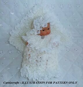 My-KNITTING-PATTERN-ONLY-for-MOTHER-OF-PEARL-CHRISTENING-SET-to-fit-5-034-DOLL