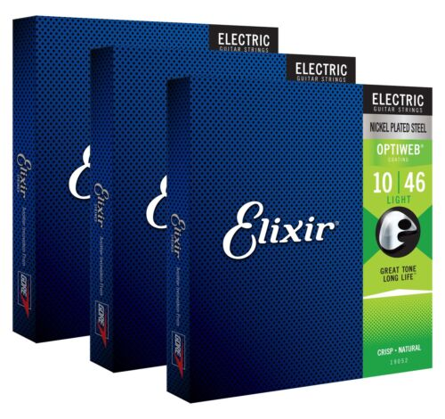 Elixir Electric Optiweb Light 3er-Set E-Gitarre Saiten Beschichtet 010-046