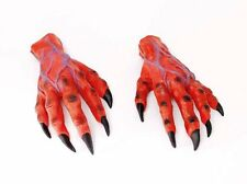 Red Devil Rubber Horror Hands Fancy Dress Monster Costume Halloween Gloves P7796