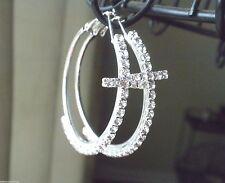 "New Cross Crystal Hoop Earrings Silver Plated Crystal Women Pierced 2.5"""