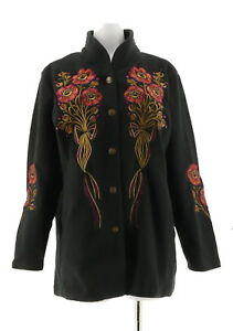 Bob-Mackie-Floral-Embroidered-Fleece-Jacket-Quilted-Collar-Black-L-NEW-A11560